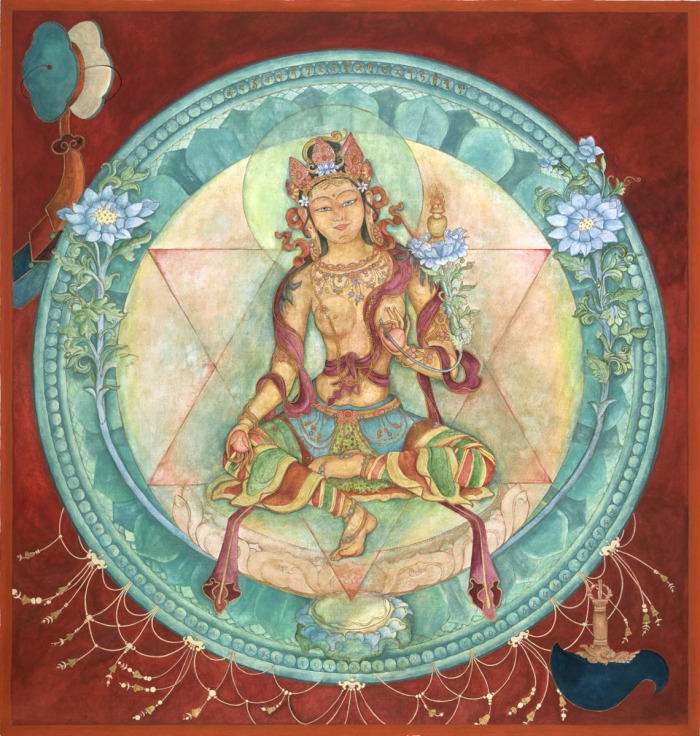 Ushnishavijaya, Goddess of long-life Laura Santi,    original gouache and mineral paints on linen  2013     Giclee print