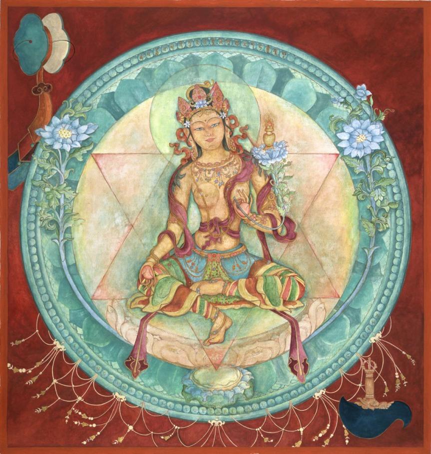 Ushnishavijaya, Goddess of long-life Laura Santi,    original gouache and mineral paints on linen  2013     Giclee print